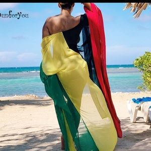 8554226e63f66 Swim | Jamaican Colored Sheer Bathing Suit Cover Up | Poshmark